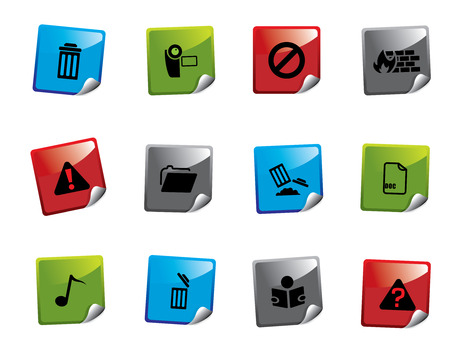 Web icon sticker series Stock Vector - 3723429