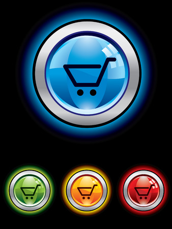 Glossy shopping button from series Stock Vector - 3760934