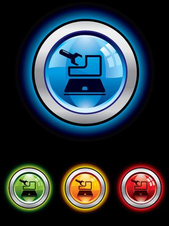 upkeep: Glossy maintenance button Illustration