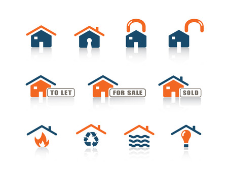 house for sale: Web icon blue orange series 8