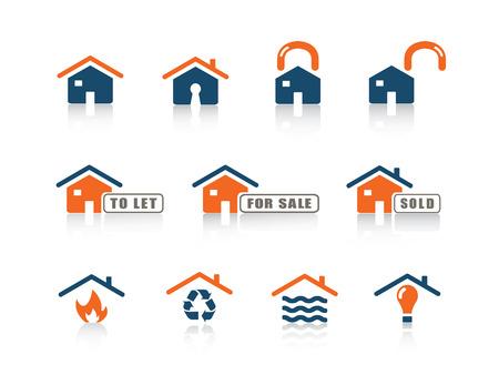 incendio casa: Web icono azul naranja serie 8