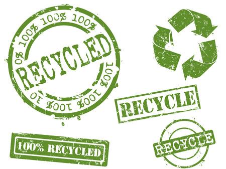 sello de goma: Series de sellos de caucho reciclado ... Vectores