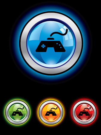 playstation: Glossy gaming button from series Illustration