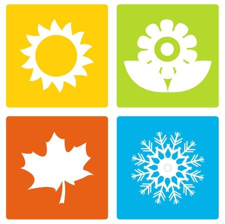 estaciones del a�o: Simple temporada de iconos Vectores