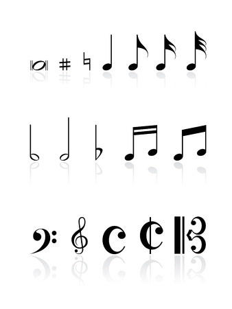 minims: Musical note icon set with reflections Illustration