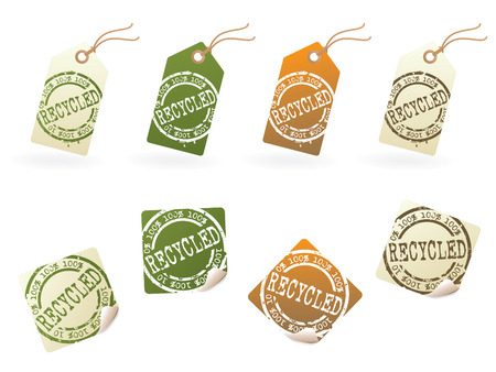 Rubber stamped recycle tag series...no.1 Vector