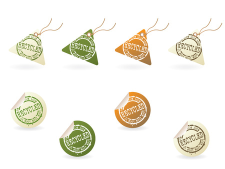 Rubber stamped recycle tag series...no.3 Vector