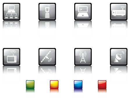 telephone mast: Glossy button series no3..media icons Illustration