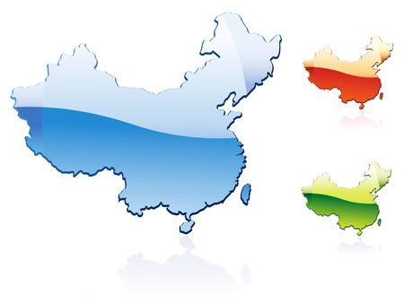 China..glossy map series Vector