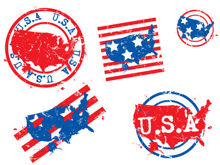 USA grunge rubber stamp maps Stock Vector - 4082818