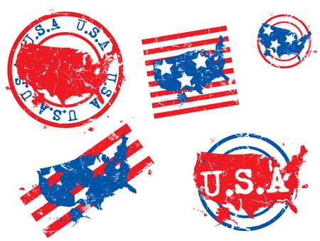 USA grunge rubber stamp maps