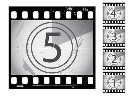 Grunge película cuenta atrás de las series Ilustración de vector