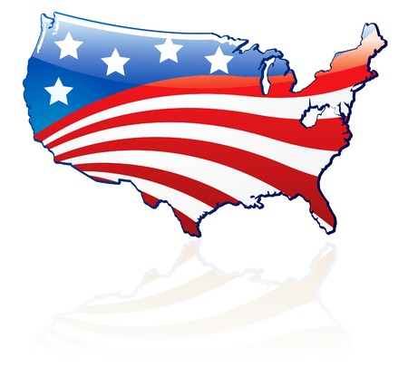 Glossy USA flag and map Vector