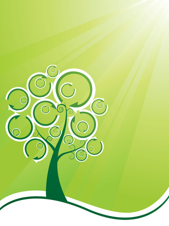 Recycling tree ecology background Vector