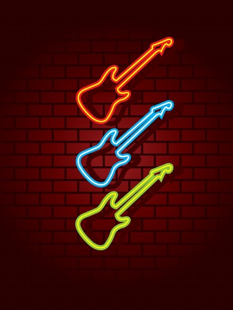 western wall: Neon guitars sign