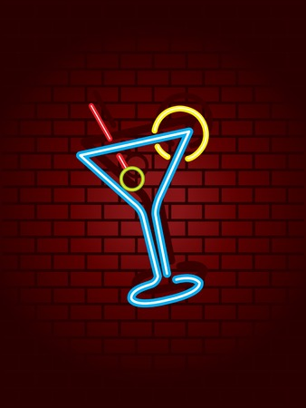nightclub bar: Neon cocktail sign