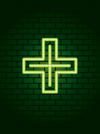 walled: Neon medical cross sign Illustration