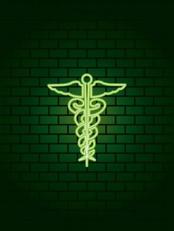 walled: Neon medical symbol sign
