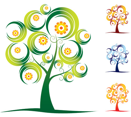 Four season tree set Vector