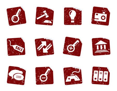 Grunge icon stickers  Vector
