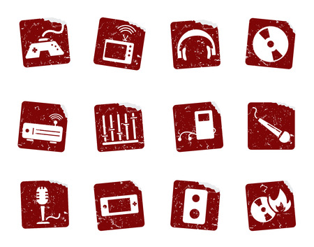 Grunge icon stickers  Vector
