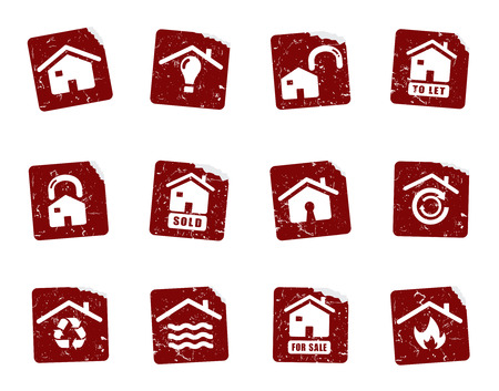 house for sale: Grunge icon stickers  Illustration