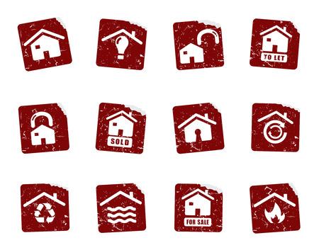 incendio casa: Pegatinas icono Grunge