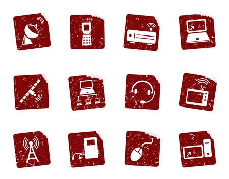 telephone mast: Grunge icon stickers  Illustration