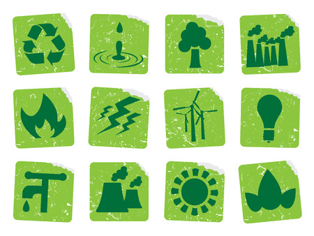 Grunge ecology stickers 1