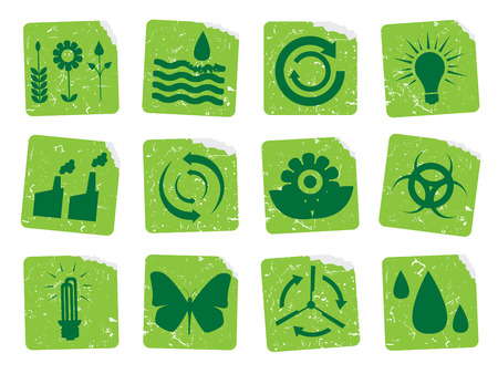 Grunge ecology stickers 2 Vector