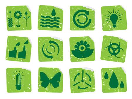 ozone friendly: Grunge ecology stickers 2