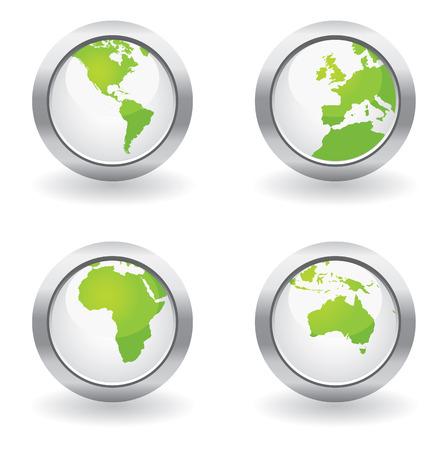 Ecology globe buttons Illustration