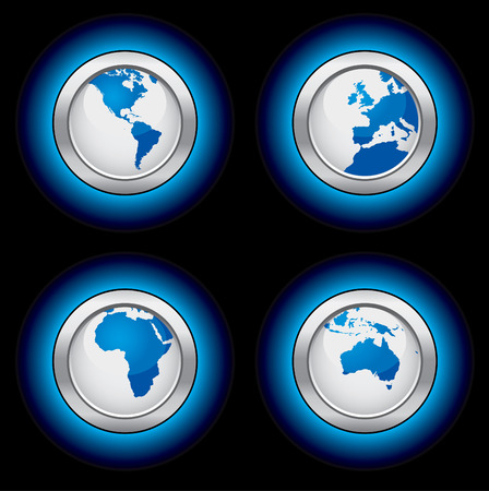 Glowing map buttons Vector