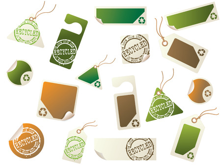 wax sell: Recycling tags and sticker collection Illustration