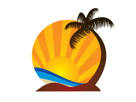 tourism logo: Logotipo de la playa Vectores
