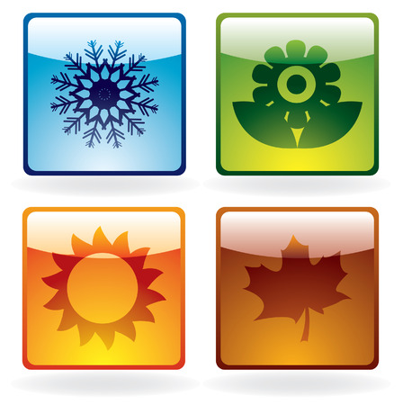 Seasons icons with subtle shadow Vector