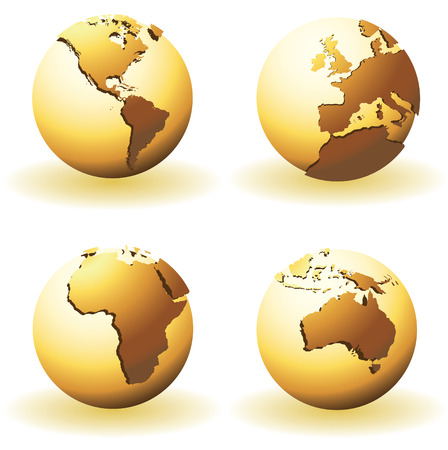 Globes with raised relief Vector