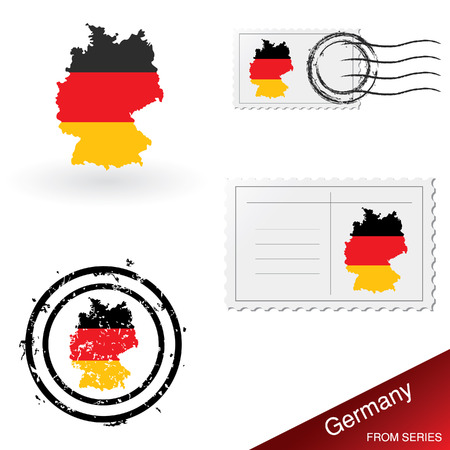 franked: Germany map, stamps and postcard set