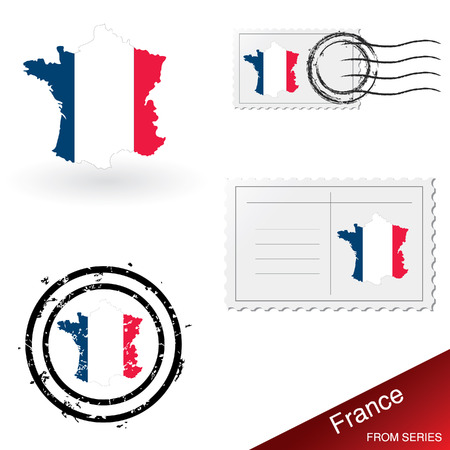 franked: France map, stamps and postcard set