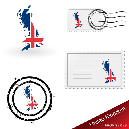 franked: UK map, stamps and postcard set Illustration