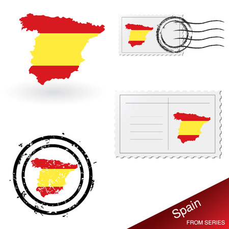 Spain map, stamps and postcard set Stock Vector - 4908069