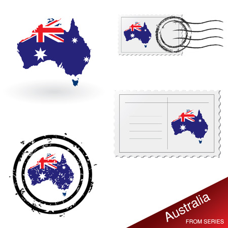Australia map, stamps and postcard set