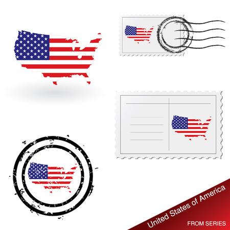 franked: USA map, stamps and postcard set Illustration