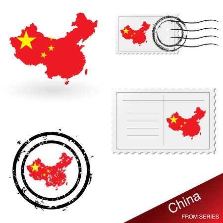 China map, stamps and postcard set Vector