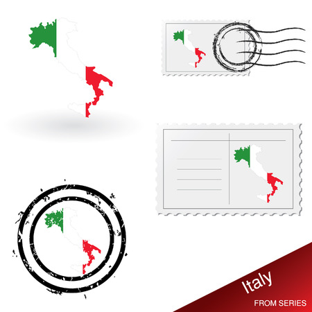 Italy map, stamps and postcard set Stock Vector - 4908075