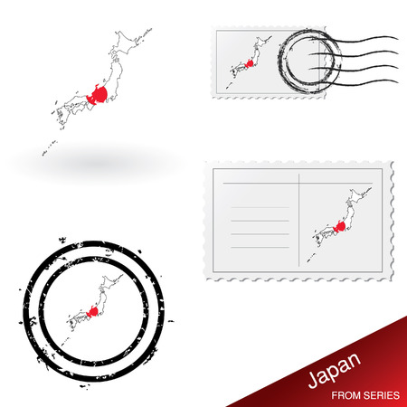 franked: Japan map, stamps and postcard set  Illustration