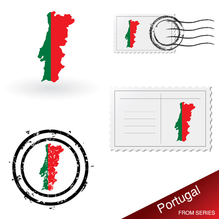 franked: Portugal map, stamps and postcard set from series Illustration