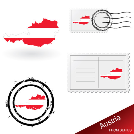 austria flag: Austria map, stamps and postcard set from series