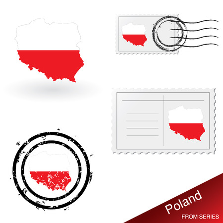 Poland map, stamps and postcard set from series Stock Vector - 4921232