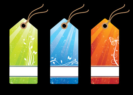 Grunge floral sales tags Stock Vector - 6350775